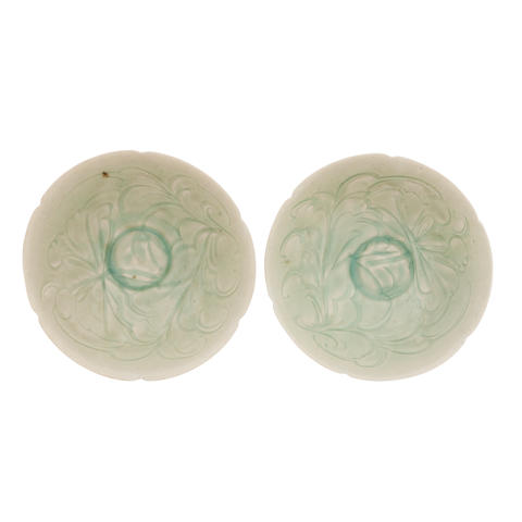 A pair of incised qingbai bowls Song
