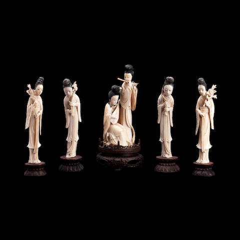 A collection of ivory figures Late Qing/Republic