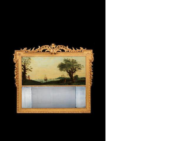 A George II giltwood landscape mirror