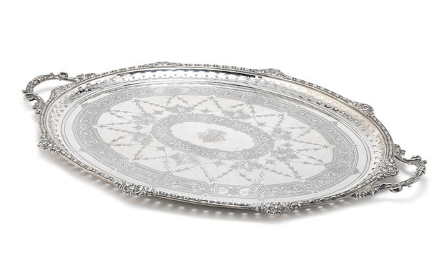 A Victorian silver two-handled tray by Mappin & Webb, Sheffield 1888