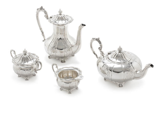 A four piece  silver  tea and coffee service by F Hawker Ltd, Birmingham 1971  (4)