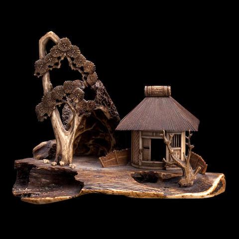 A bone, wood and antler okimono Meiji