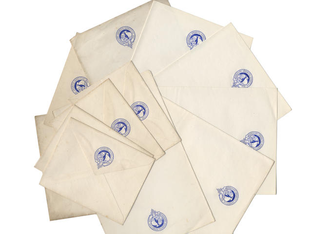 "DISCOVERY A collection of blank Discovery Expedition stationery, bearing the blue printed expedition logo, ""Discovery Antarctic Expedition 1901,"" in a band surrounding a penguin on the pole, comprising 8 bifolio sheets, 3 with some discolouration at edges, 8vo (210 x 135mm), and 4 envelopes (95 x 120mm.) [c.1901] (12)"