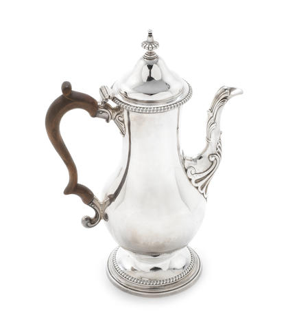 A George III  silver coffee pot by James Young & Orlando Jackson, London 1774