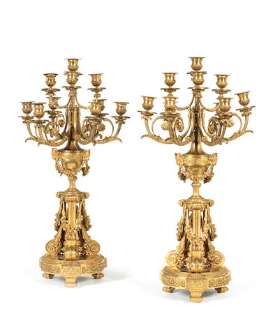 A pair of French late 19th century gilt-bronze ten-light candelabraby Henry Dasson, Paris, dated 1879