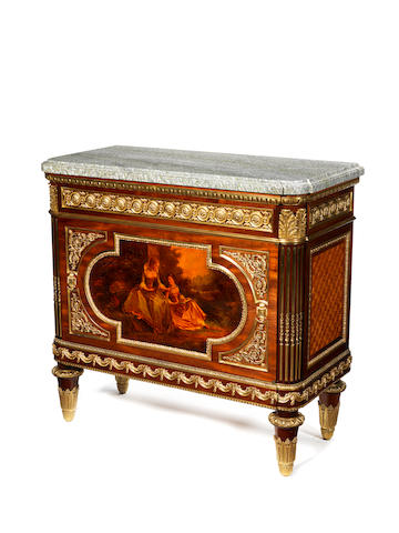 A French late 19th century Louis XVI style ormolu-mounted and Vernis Martin meuble à hauteur d'appui