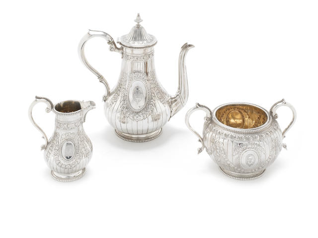 A Victorian silver three-piece coffee service by Alexander Smith, London 1868-71  (3)