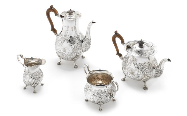 An Edwardian silver four-piece tea and coffee service by Goldsmiths & Silversmiths Co Ltd, London 1902-4
