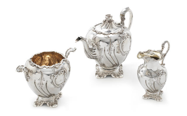 A William IV Scottish silver three-piece tea service by Robb & Whittet, Edinburgh 1841  (3)