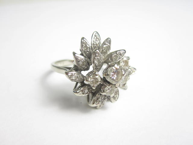 An 18ct white gold diamond dress ring, London 1973
