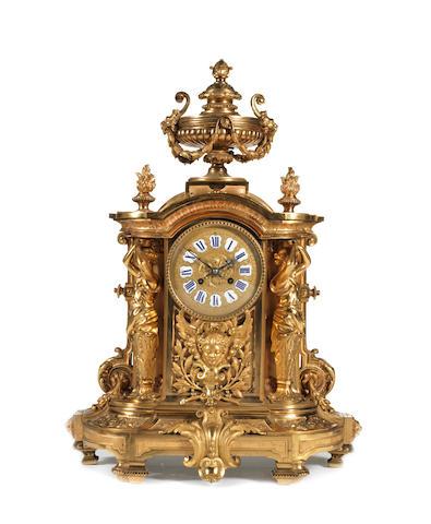 A large Renaissance style ormolu clock