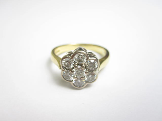 An 18ct gold diamond cluster ring, London 1963
