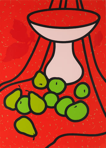 Patrick Caulfield (British, 1936-2005) Fruit and Bowl (Cristea 60) Screenprint in colours, 1979-1980, on wove, signed and numbered 84/100 in pencil, printed at Kelpra Studios, London, published by Waddington Graphics, London, the full sheet printed to the edges, 838 x 596mm (33 x 23 1/2in)(SH)