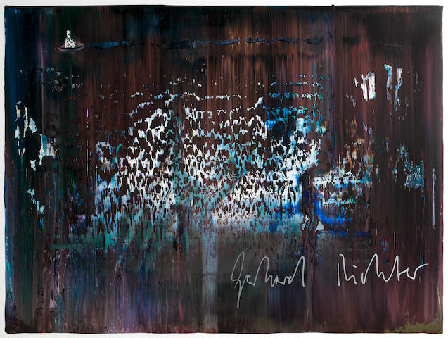 Gerhard Richter (German, born 1932) Abstraktes Bild (see B.Anhang p.169) Offset lithograph printed in colours, 1990, on wove, signed in silver ink verso, a rare trial proof aside from the edition of 100 on larger paper, with the printed justification on separated sheet as published from the portfolio Künstler für Äthiopien, published by Politischer Club Colonia, with full margins, 430 x 593mm (17 x 23 1/4in) (SH) (unframed)