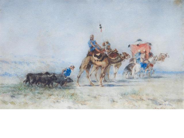 Narcisse Berchère (French, 1819-1891) A desert caravan