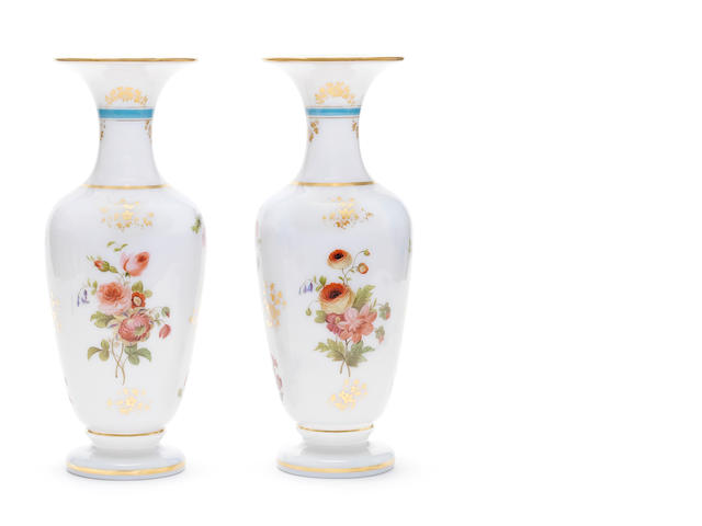 A pair of French enamelled and gilt opaline baluster vases