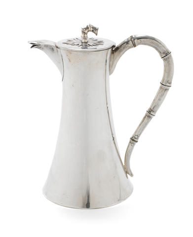 An early 20th century Chinese export silver hot water jug by Kwan Wo, also stamped '90' with character mark, circa 1900