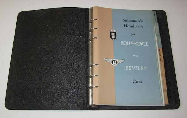 A sales handbook for Roll-Royce and Bentley cars, circa 1953,