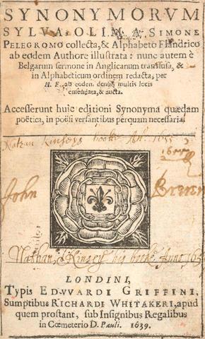 PELEGROMIUS (SIMON) Synonymorum sylva... & aphabeto Flandrico ab eddem Authore illustrata, 1639
