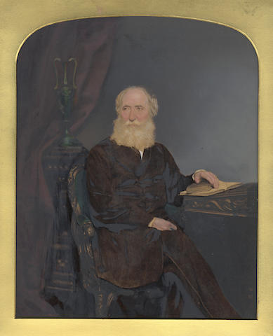 BORTHWICK (Colonel WILLIAM) Portrait of William Borthwick, three-quarter length seated at a desk, his hand on a book, [c.1855]