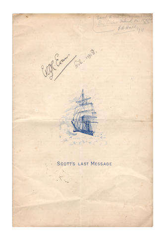 SCOTT (ROBERT FALCON) and 'TEDDY' EVANS. Scott's Last Message, SIGNED BY TEDDY EVANS, [c.1918]