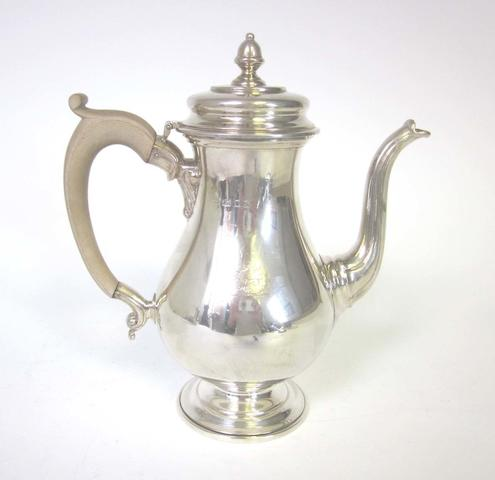 A silver coffee pot maker's mark 'C.E', London 1933
