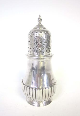 A modern silver caster by London Assay Office, London 1967, together with two pierced baskets and a bon bon dish  (4)