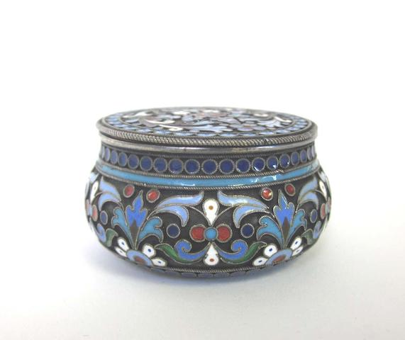 "A late 19th century Russian silver and enamel box with Cyrillic maker's mark ""п.о"", Moscow  (1)"