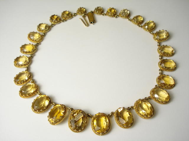 A late 19th century citrine rivière