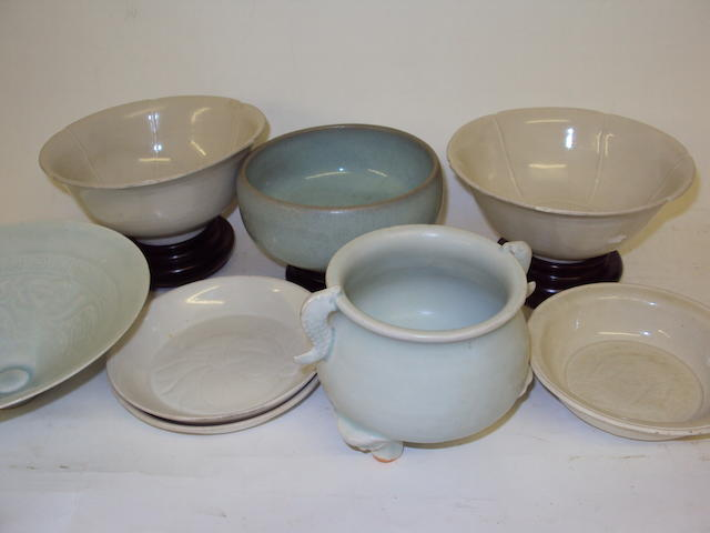 A collection of glazed Chinese bowls