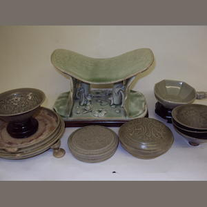 A collection of green glazed Chinese porcelain and stoneware