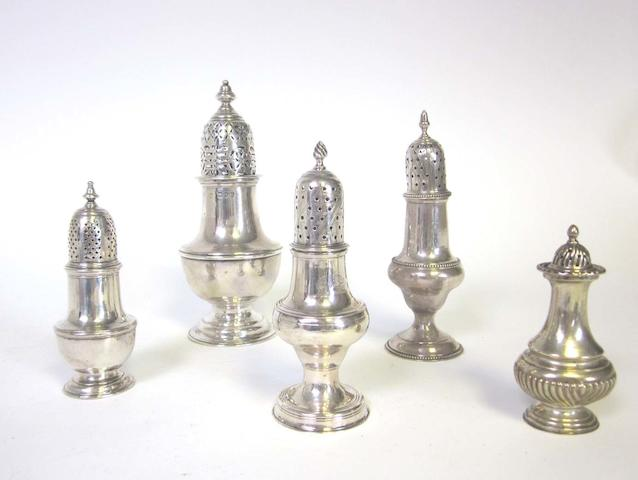 A collection of 18th/19th century silver casters various dates and makers  (7)