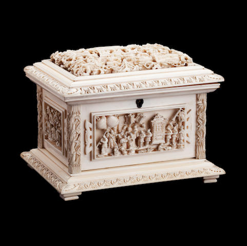A Canton export ivory casket 19th century