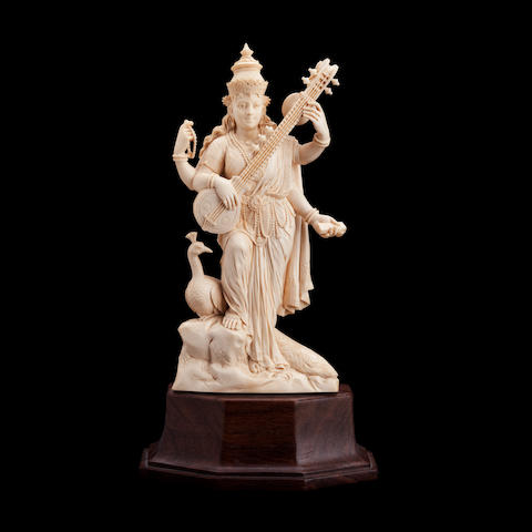 An ivory statue of Saraswati 19th/20th century