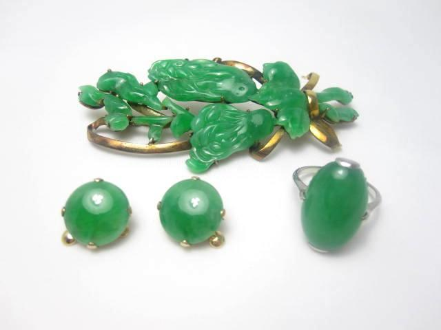 A collection of jadeite jewellery,