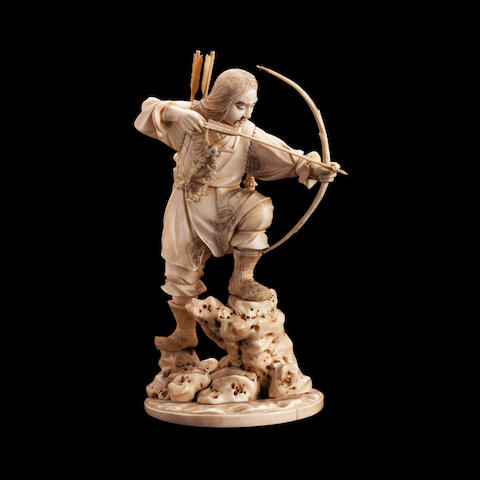 A sectional ivory and marine ivory okimono of an archer Meiji