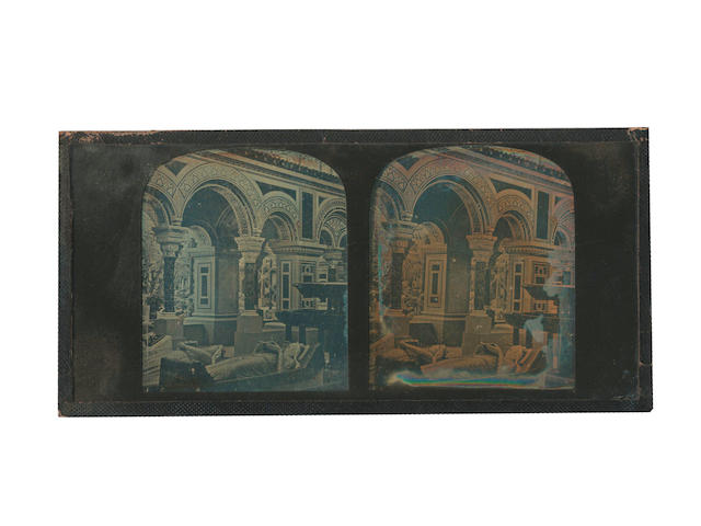 DAGUERREOTYPES - STEREOVIEWS A group of 6 stereoscopic views, 4 of art and interiors, a nude, and a portrait contained within a boxed stereoviewer in a leather case by Mr. Claudet of Regent Street, [c.1850] (6)