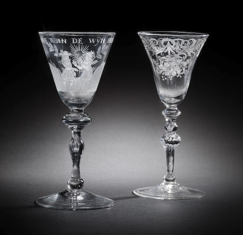 Two Dutch-engraved wine glasses, mid 18th century
