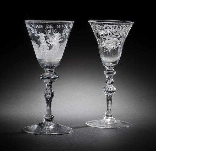 Two Dutch-engraved wine glasses