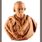 A Watcombe Pottery terra cotta bust of Benjamin Disraeli, after Mario Raggi