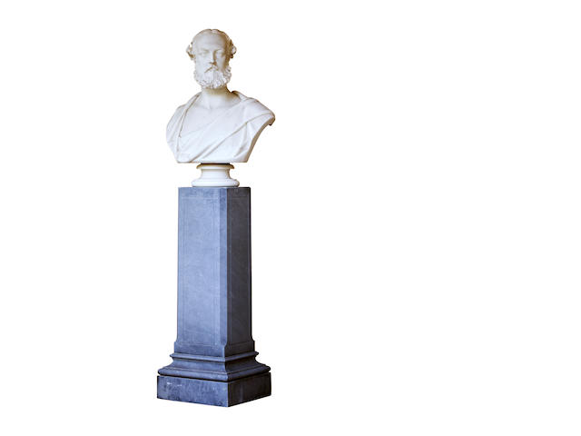 Matthew Noble (1817 - 1876): A pair of white marble bustsSigned and dated 1871
