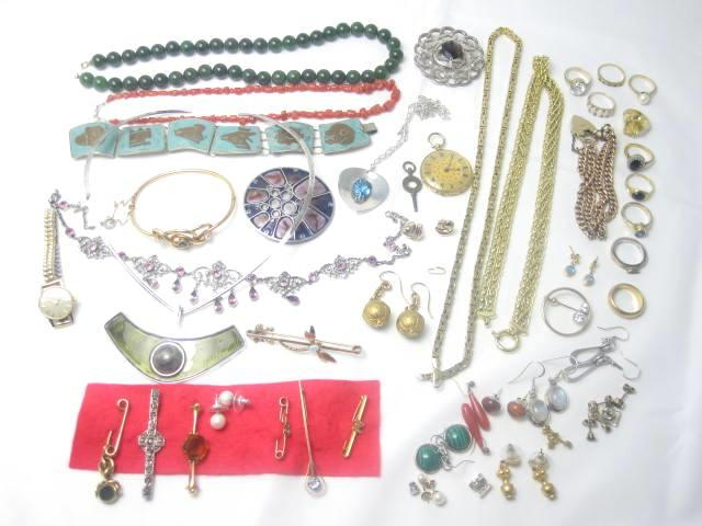 A large collection of jewellry including David Anderson necklace, ladies old pocket watch.diamond brooch, ladies Omega wristwatch, 9 gold rings.Dragonfly brooch, gold necklaces, qty earrings etc TO BE ADVISED BY JEWELLERY DEPT
