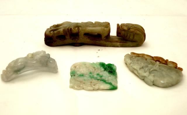 Four jadeite or other mineral carvings