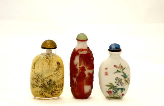 Three various snuff bottles