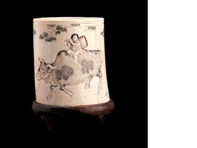 An ivory brush pot Circa 1900