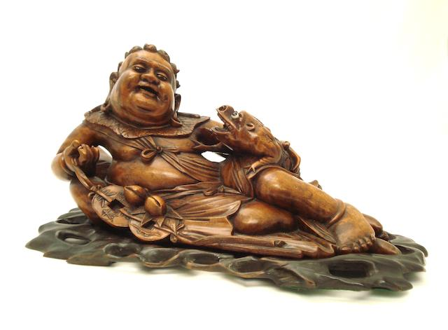 A large carved wood figure of Hotei 19th century