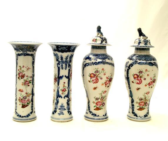 A part garniture of famille rose vases Circa 1800