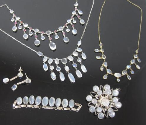 A collection of moonstone jewellery