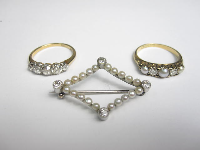Two rings and a brooch