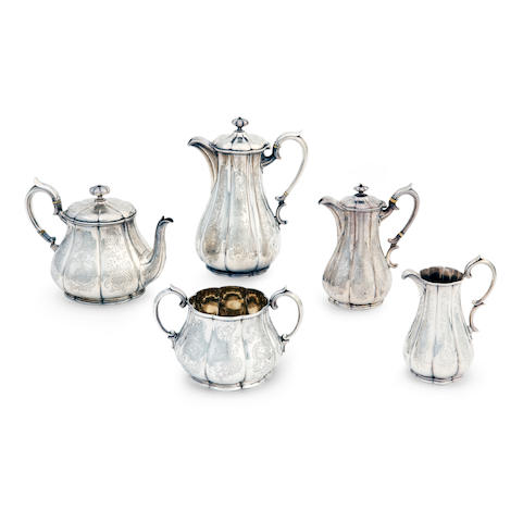 An early Victorian five piece silver tea service by Benjamin Smith, London 1843/1844